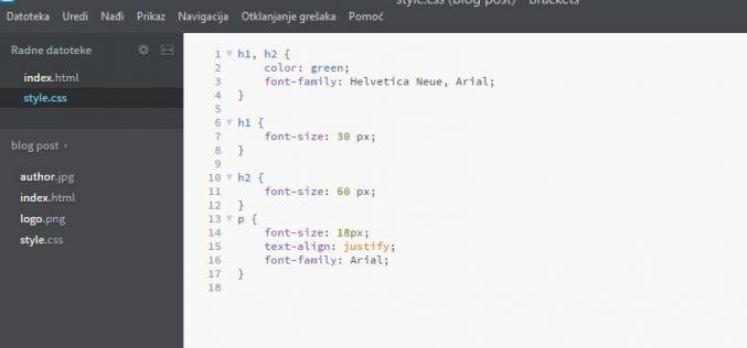 CSS programiranje i vitičaste zagrade